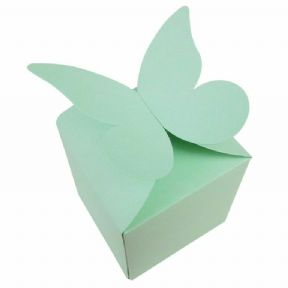 Light Green Large Butterfly Top Muffin / Cupcake Box 80mm x 80mm x 80mm